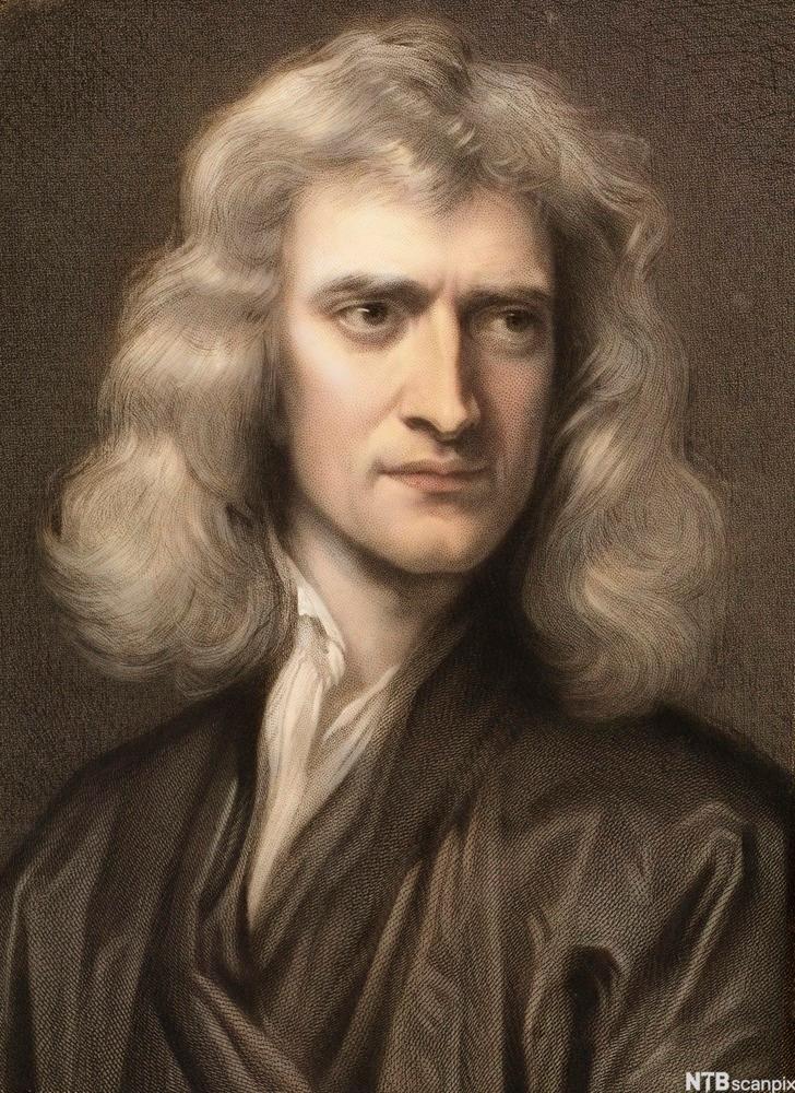 Sir Isaac Newton. Portrettmaleri.