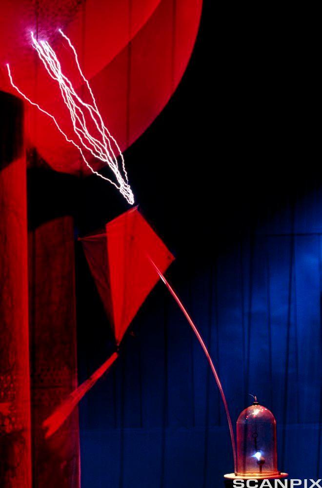 Modell av Ben Franklins lyneksperiment. Foto.