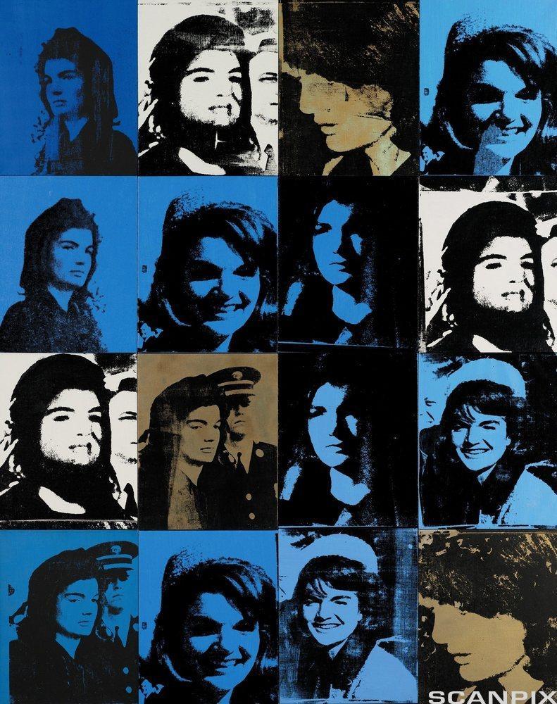 Bildet Sixteen Jackies av Warhol er satt sammen av seksten bilder av en kvinne. Grafikk.