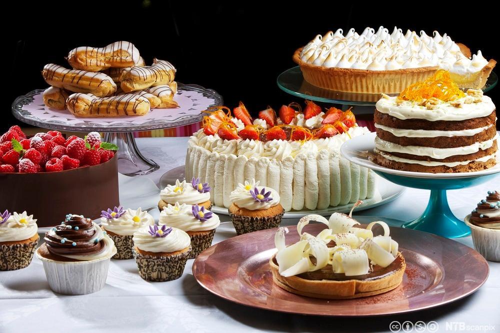 Vannbakkels, bløtkake, gulrotkake, bringebærmoussekake, sjokoladekake, sitronterte marengs, muffins marsipanmargerit. Foto.