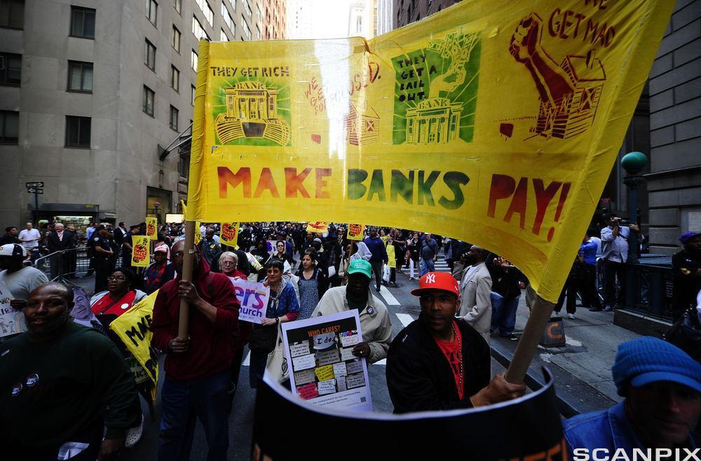 Demonstrasjoner i Wall Street. Foto.