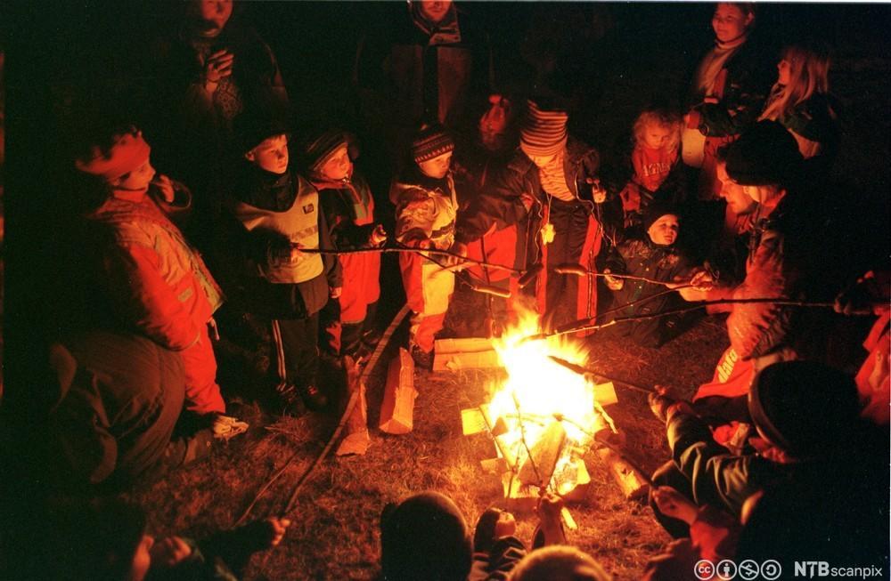 Barn griller pølser ved leirbål. Foto.