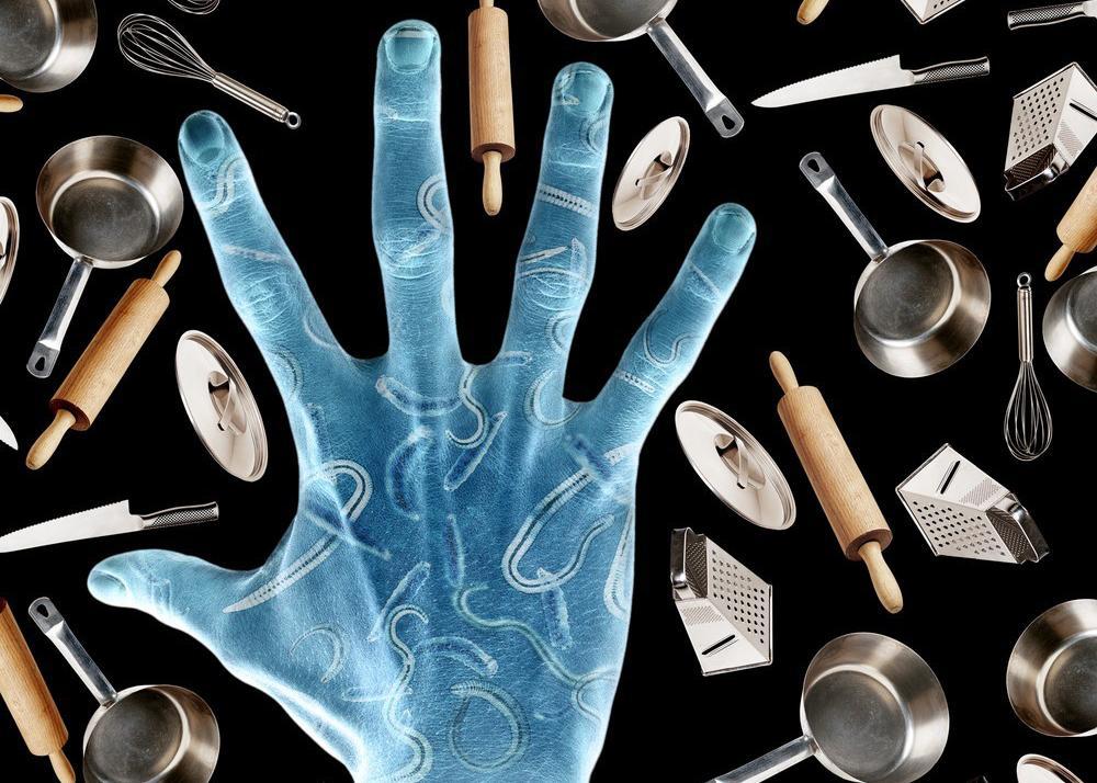 Hand med bakteriar. Illustrasjon.