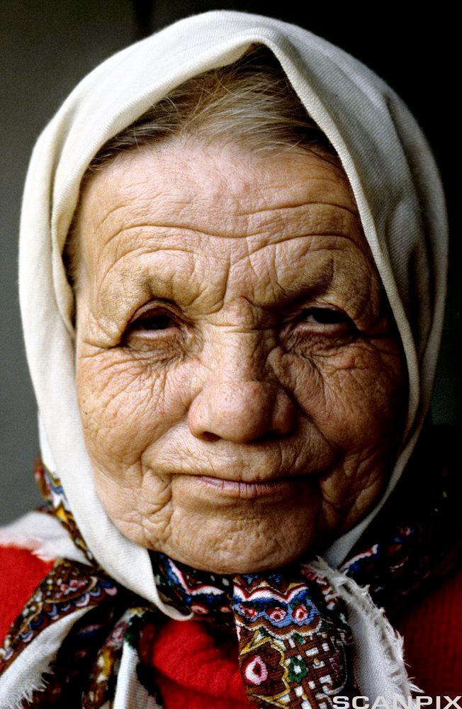 Portrett av en gammel dame. Foto.