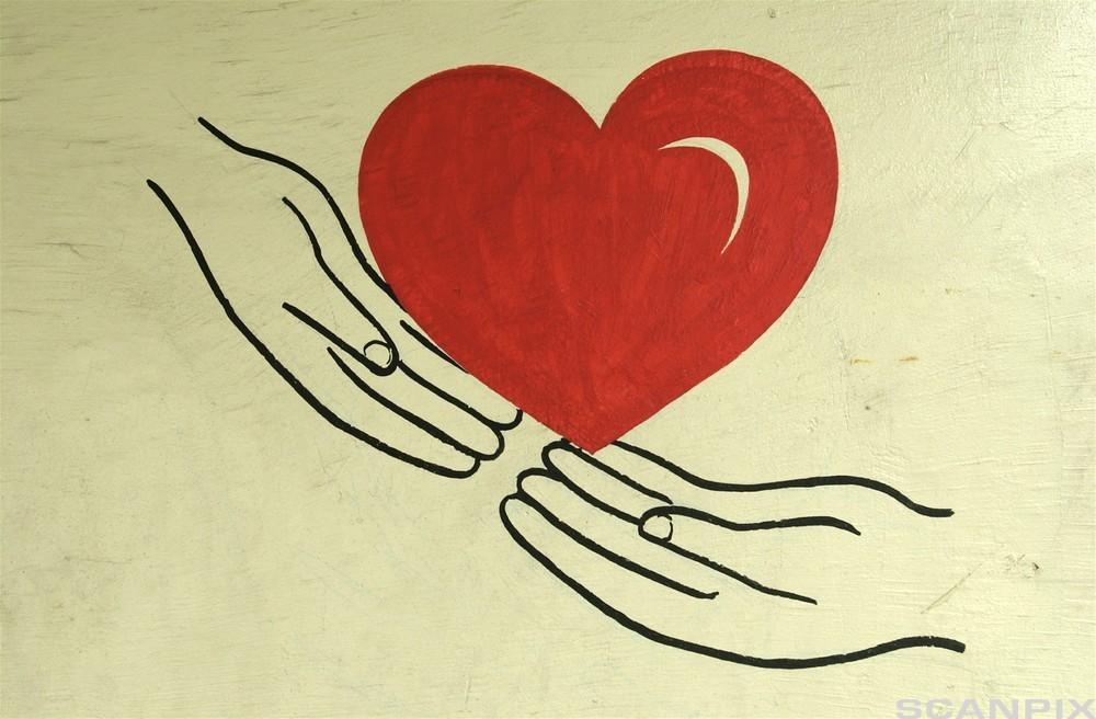 To hender holder et stort rødt hjerte. Illustrasjon.