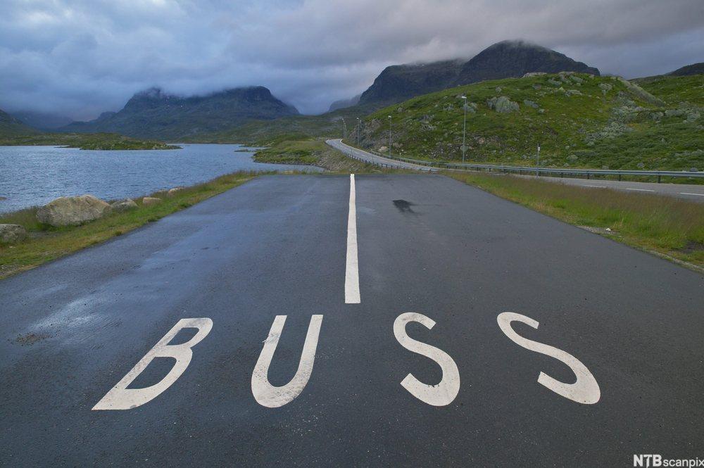 Parkeringsplass for buss på Haukelifjell.foto.