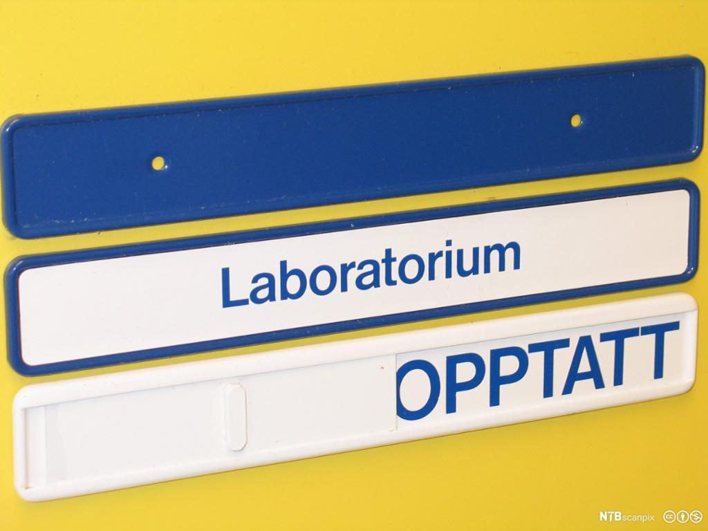 Skilt med opptatt. Gul dør på laboratorium. Foto.