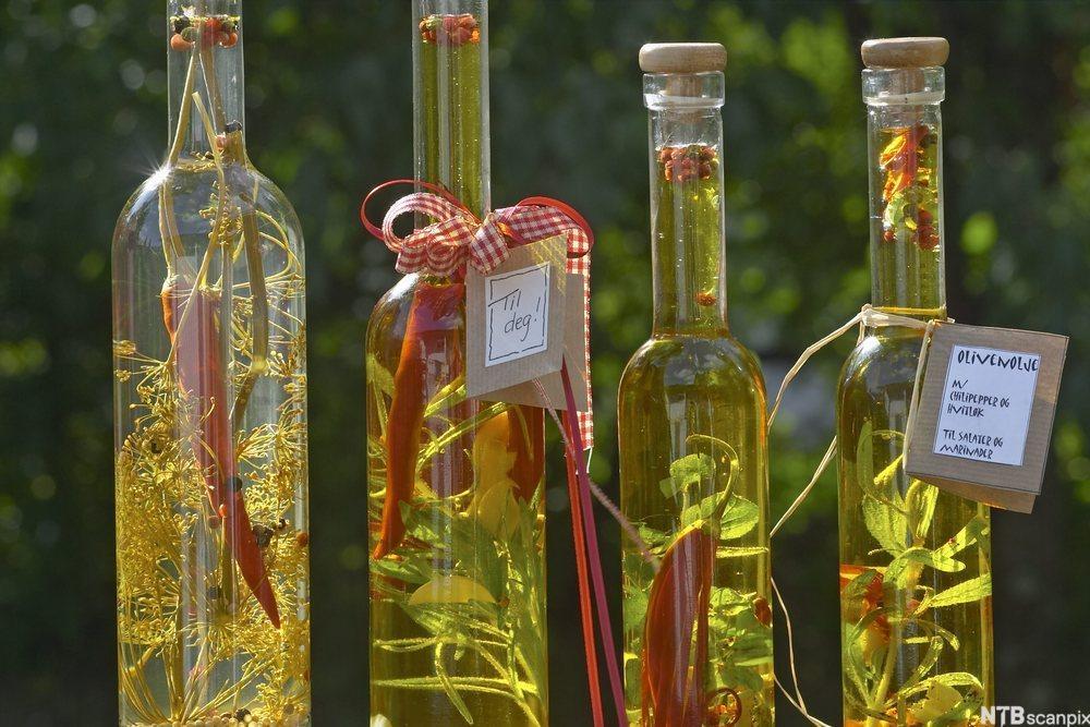 bilde av fire flasker med urteolje