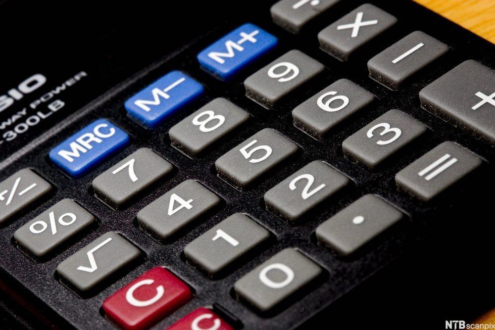 Tastatur på kalkulator. Foto.