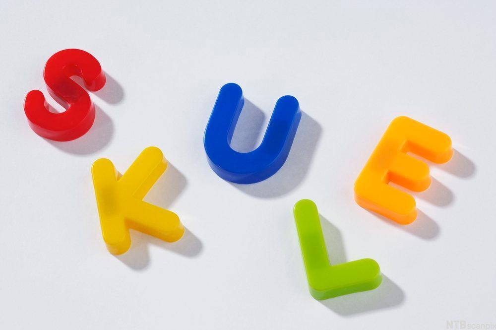 Ordet skule skrevet med magnetbokstaver. Foto.
