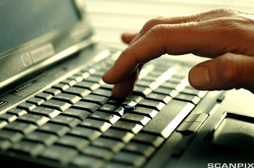 Hånd som skriver på et tastatur. Foto.