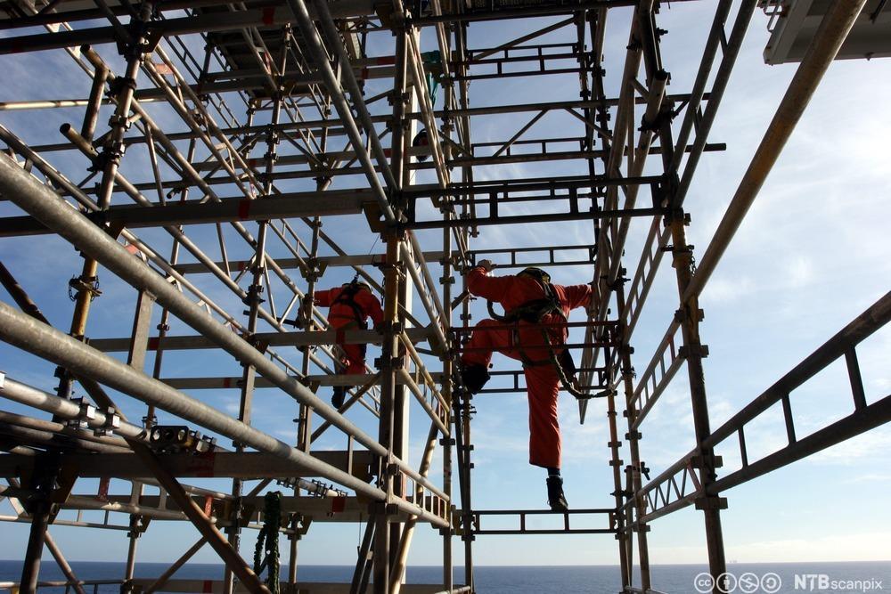 Stillasarbeidere i Nordsjøen. Foto.