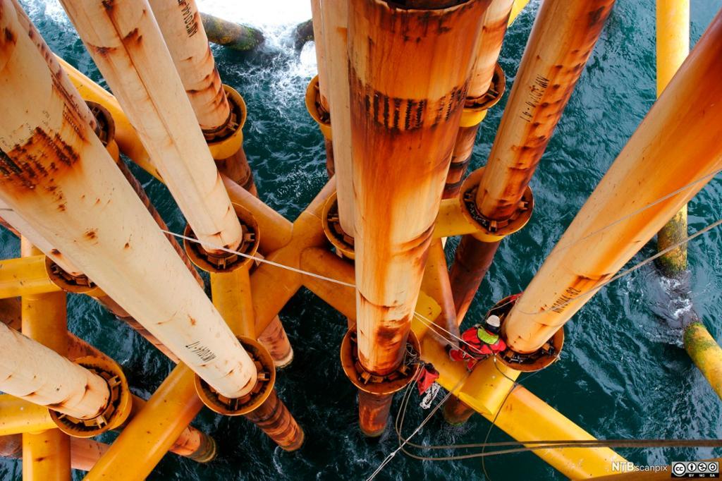 Brønner under installasjonen offshore. Foto.