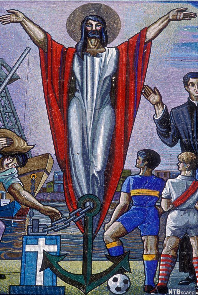 Fotballspillere og Jesus. Kirkemaleri, La Boca. Buenos Aires, Argentina