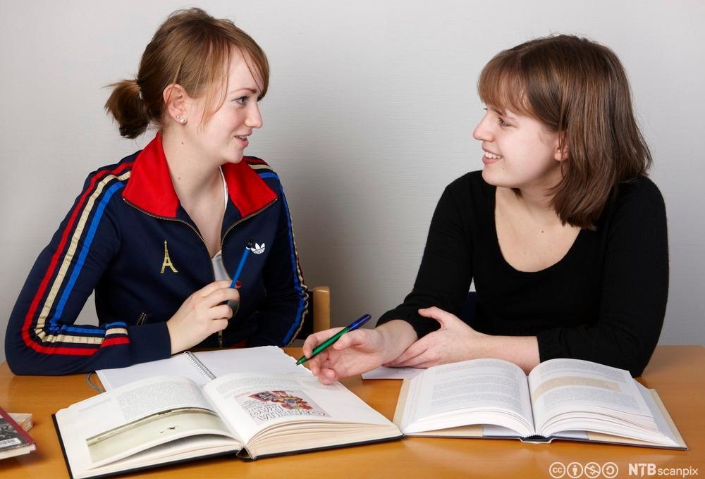 To elever samarbeider. Foto.