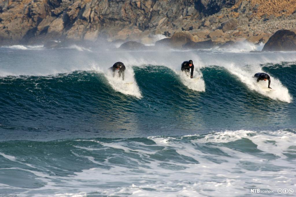 Tre surfere i havet. Foto.