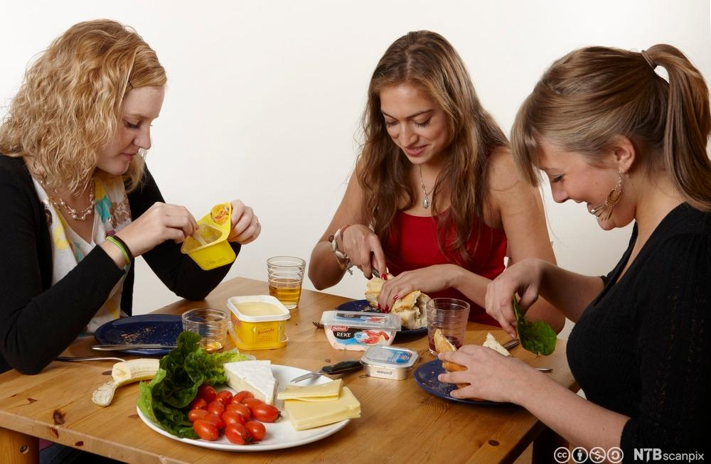 Tre unge jenter spiser lunsj sammen, brød med pålegg, frukt og grønt, jogurt. Foto.