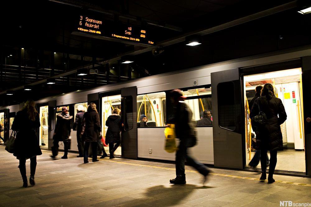 T-banestasjon i Oslo sentrum. Foto.
