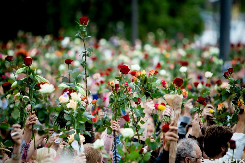Frå rosetoget i Oslo, 25. juli 2011. Bilde.