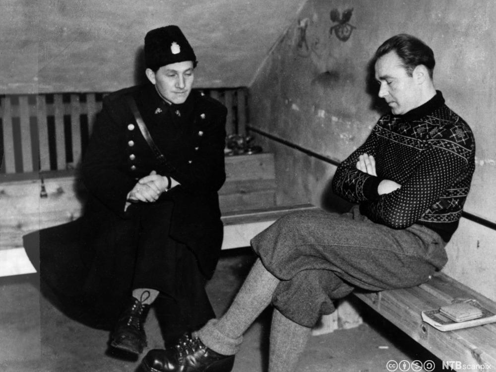 Siegfried Fehmer i cellen på Møllergata 19 etter frigjøringen i 1945. Han ble dømt til døden i 1946 og henrettet 16. mars 1948 på Akershus festning.
