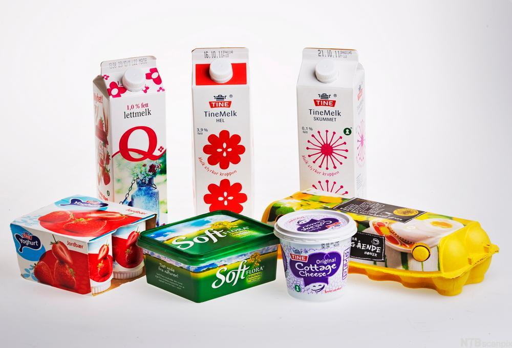 Bilde av egg og meieriprodukter. Foto