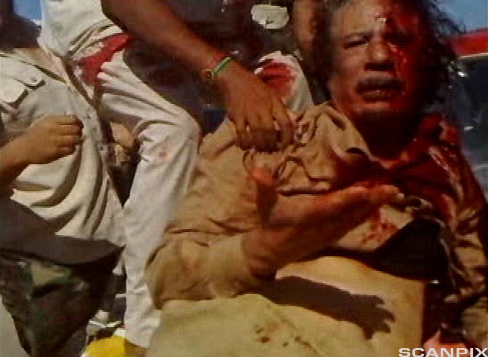 Muammar Gaddafi blir drept. Stillbilde fra videoopptak.