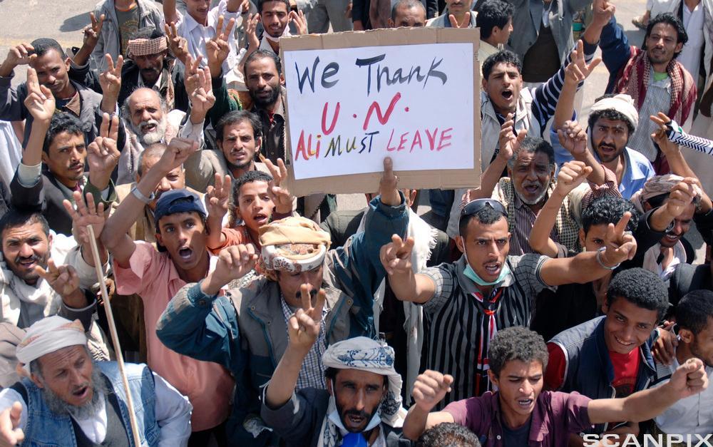 Demonstrasjon mot president Ali Abdullah Saleh i Sana, Jemen. Foto.