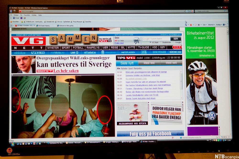 Nettsiden til VG. Foto.