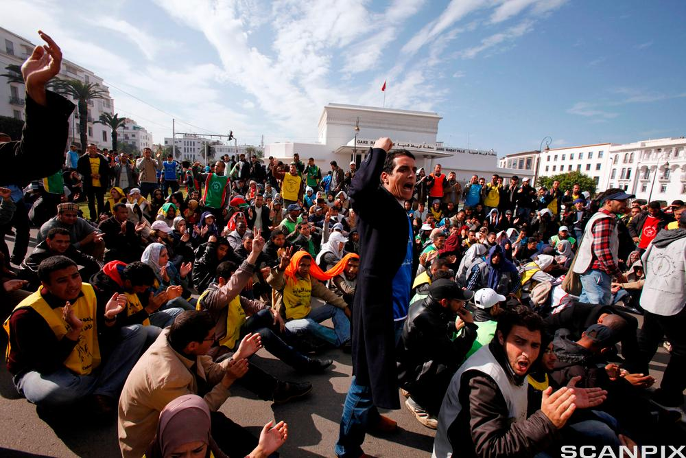 Unemployed graduates demonstrate in Morocco