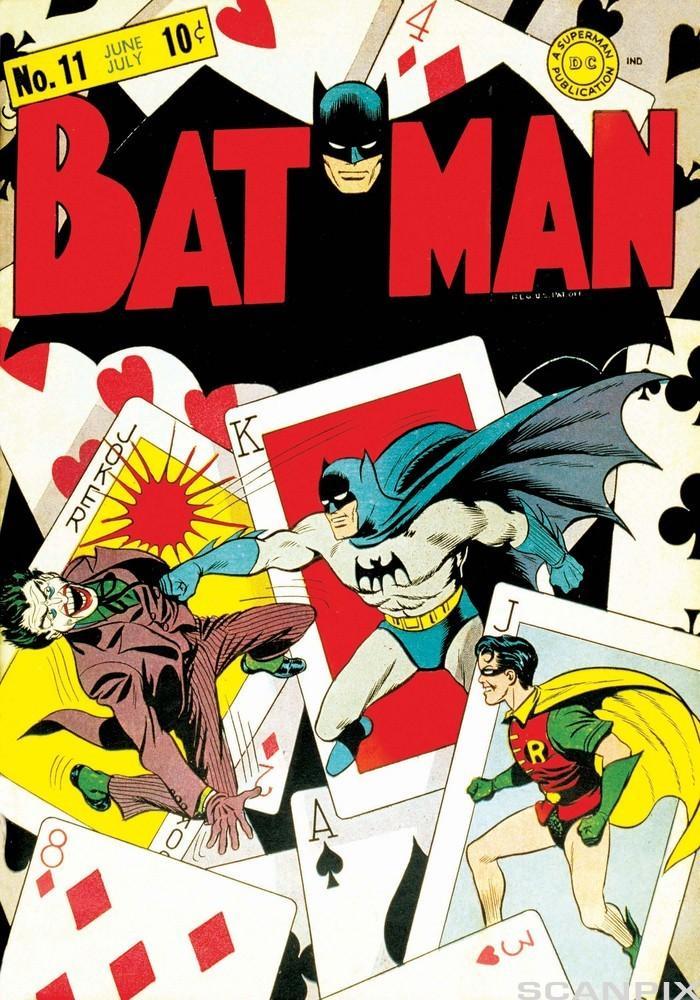 Bilde av karakterer fra Batmanmblader.