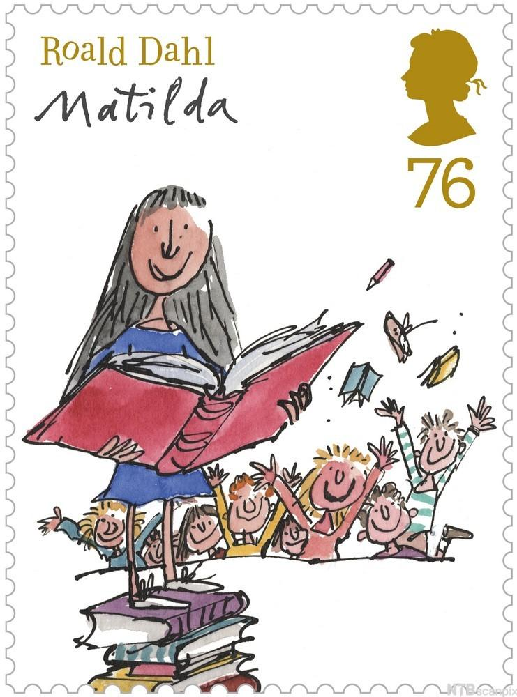 Roald Dahl Stamp with Matilda Image