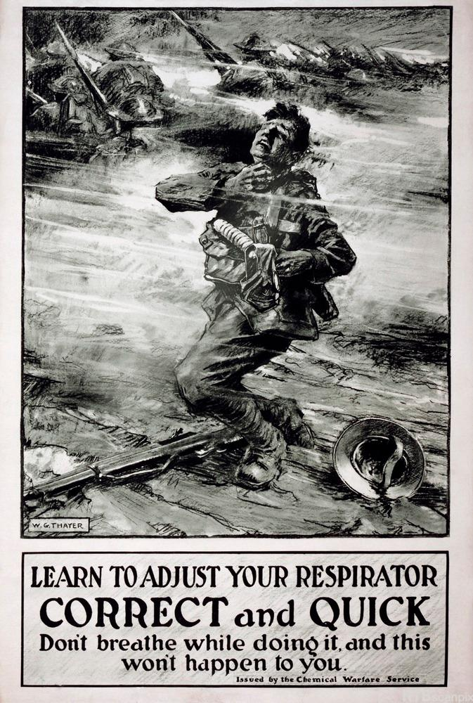 Gas warfare poster, World War I