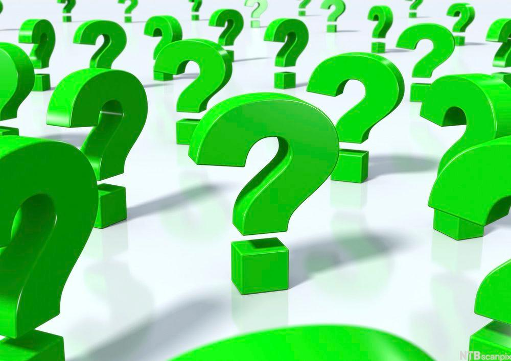 Mage grønne spørsmålstegn. Illustrasjon.