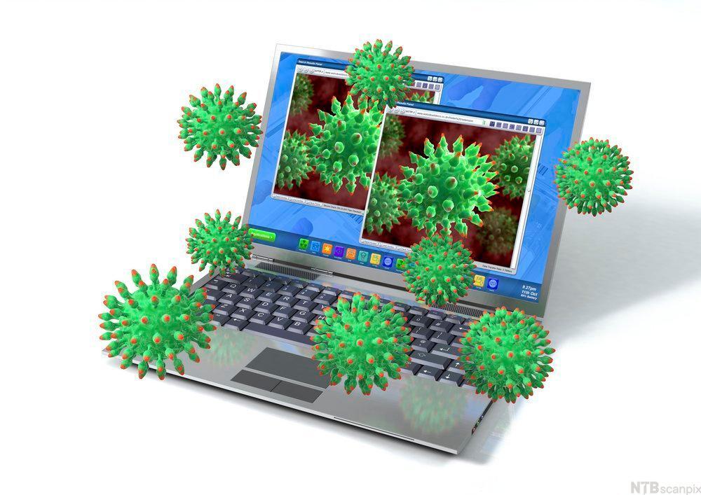 Datamaskin som blir angrepet av virus. Illustrasjon