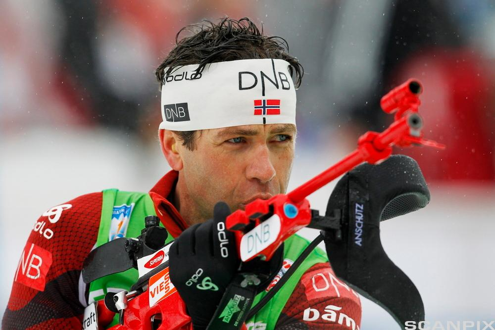 Ole Einar Bjørndalen under VM i skiskyting i Ruhpolding, Tyskland, 11. mars 2012. Foto.