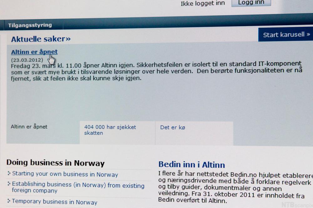 Utklipp fra Altinn etter at de fikk nettsiden opp igjen etter nedetid i 2012. Foto