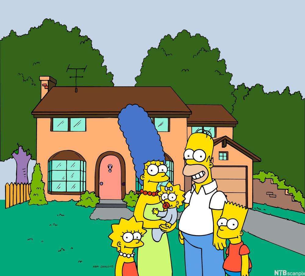 Familen Simpsons froran huset sitt. Illustrasjon.