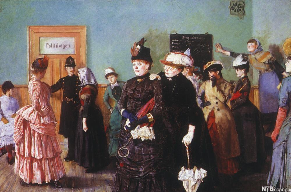 Maleri som viser ei ung jente, Albertine, i et venterom fullt av oppstasede prostituerte kvinner. Foto.