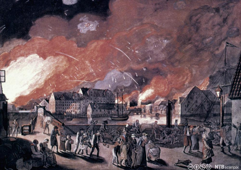 Folk som flykter. København blir bombardert av krigsskip. Illustrasjon.
