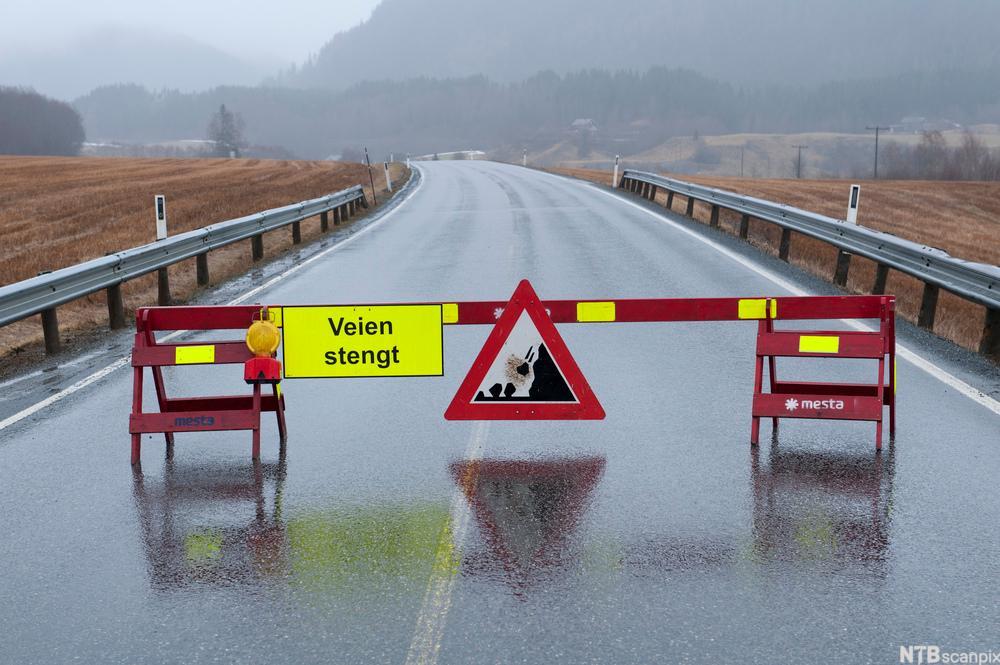 Veisperring med skiltet veien er stengt. foto.