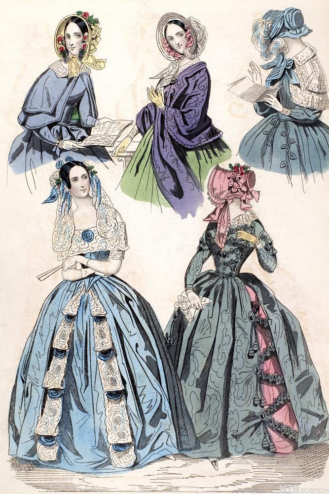 Kvinne mote fra 1842. Illustrasjon