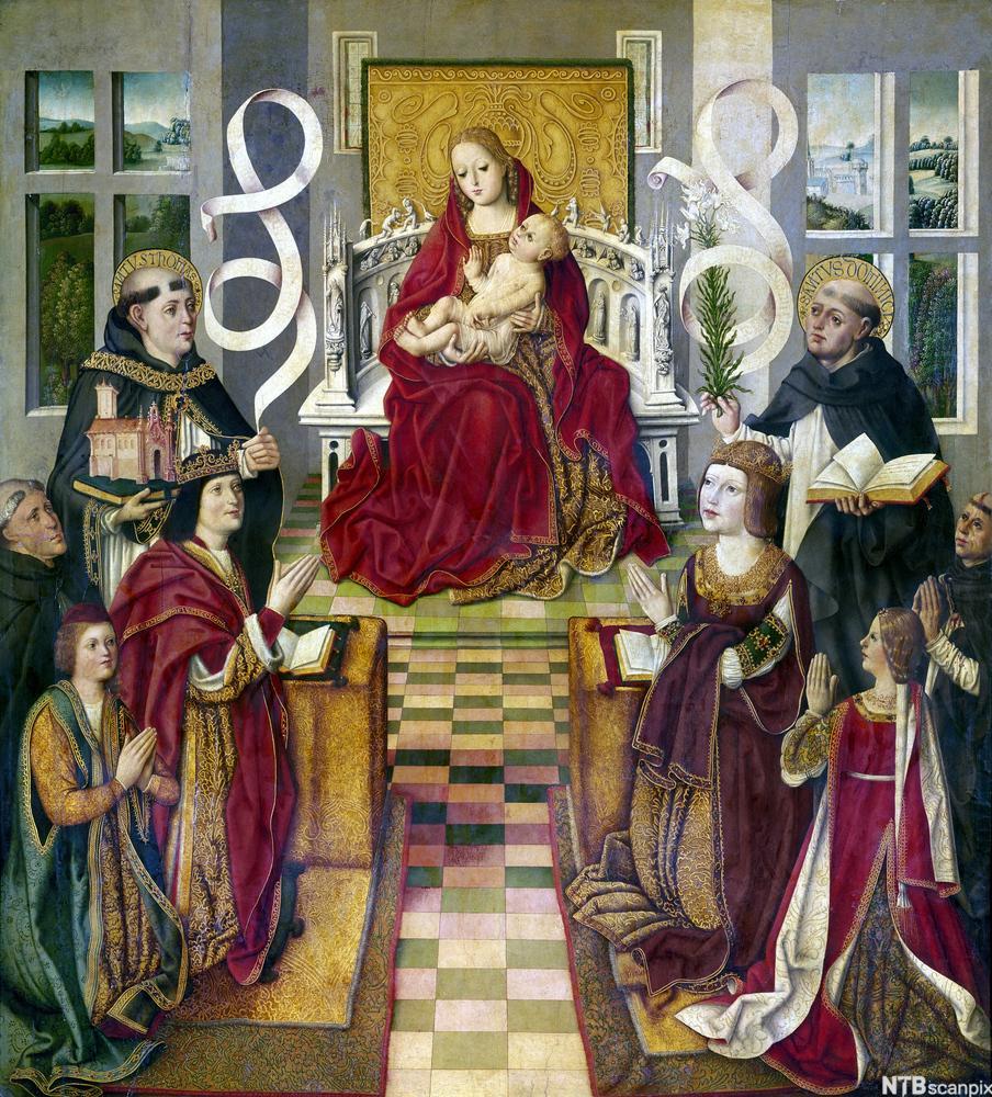 Jomfru maria med Jesus-barnet på ei trone, omkransa av kirkefedrene og den spanske kongen og dronninga som kneler. Maleri.