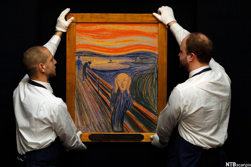 """Edvard Munchs """"Skrik"""" klargjøres til  auksjon i London. Foto."""
