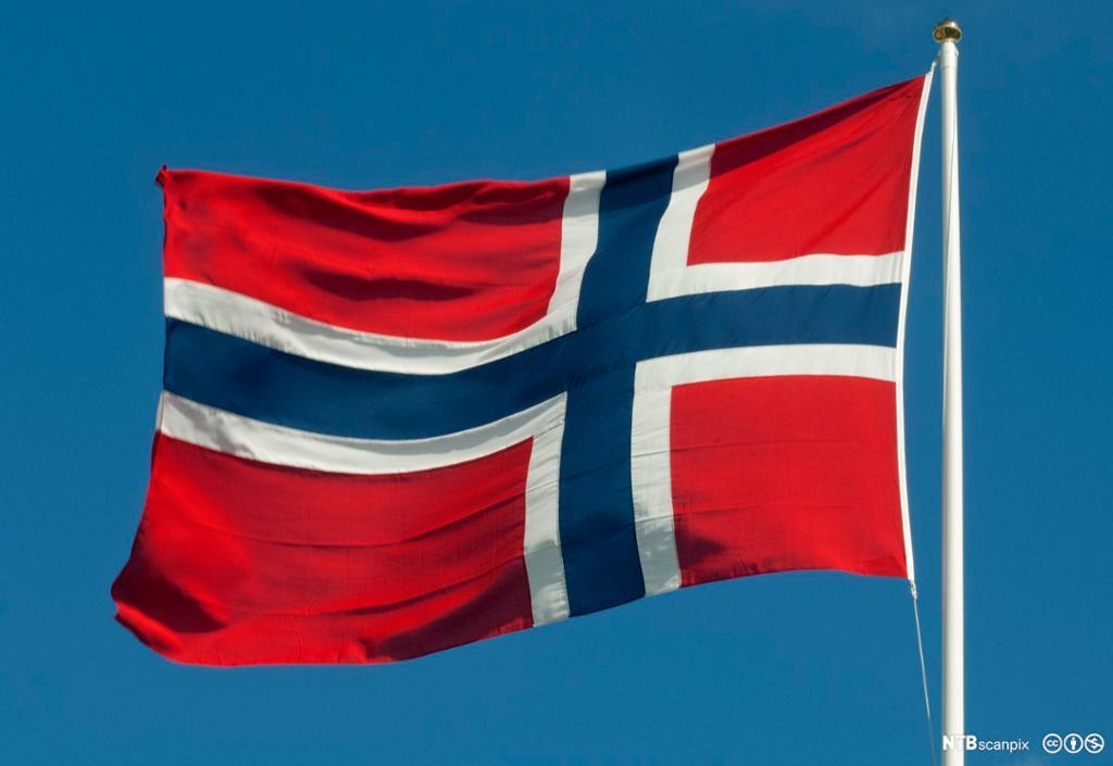 Et norskt flagg som vaier i vinden.