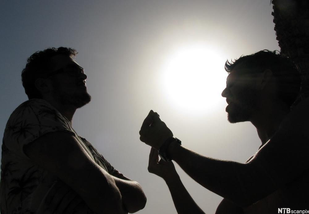 To personer i siluett diskuterer. Foto.