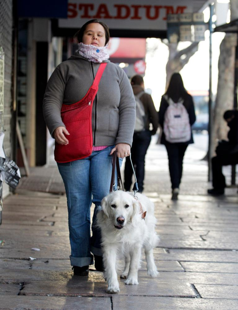 Blind person with guide dog. Photo.