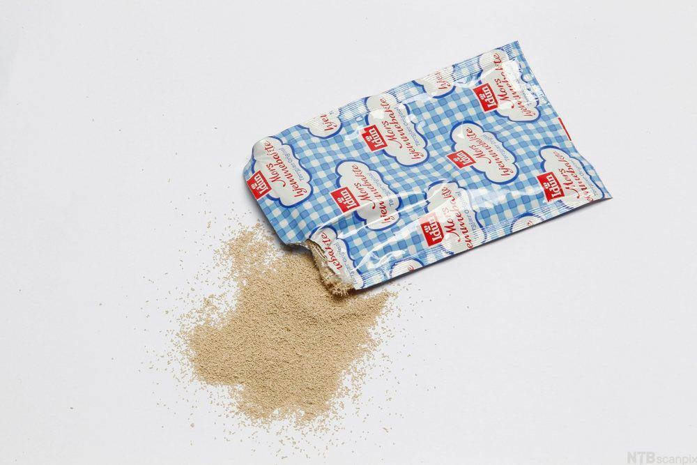 Bildet viser en pose med tørrgjær