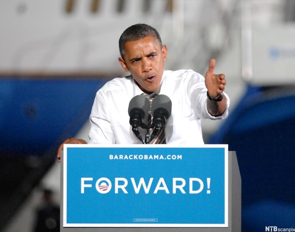 President Barack Obama taler i Cleveland. Foto.