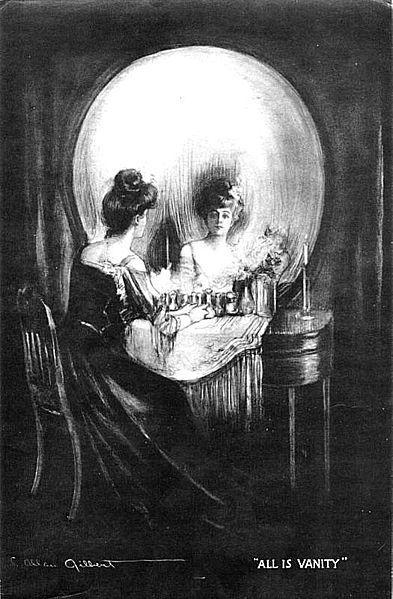 Kvinne som speiler seg, kan også se ut som et kranium. Tegning.