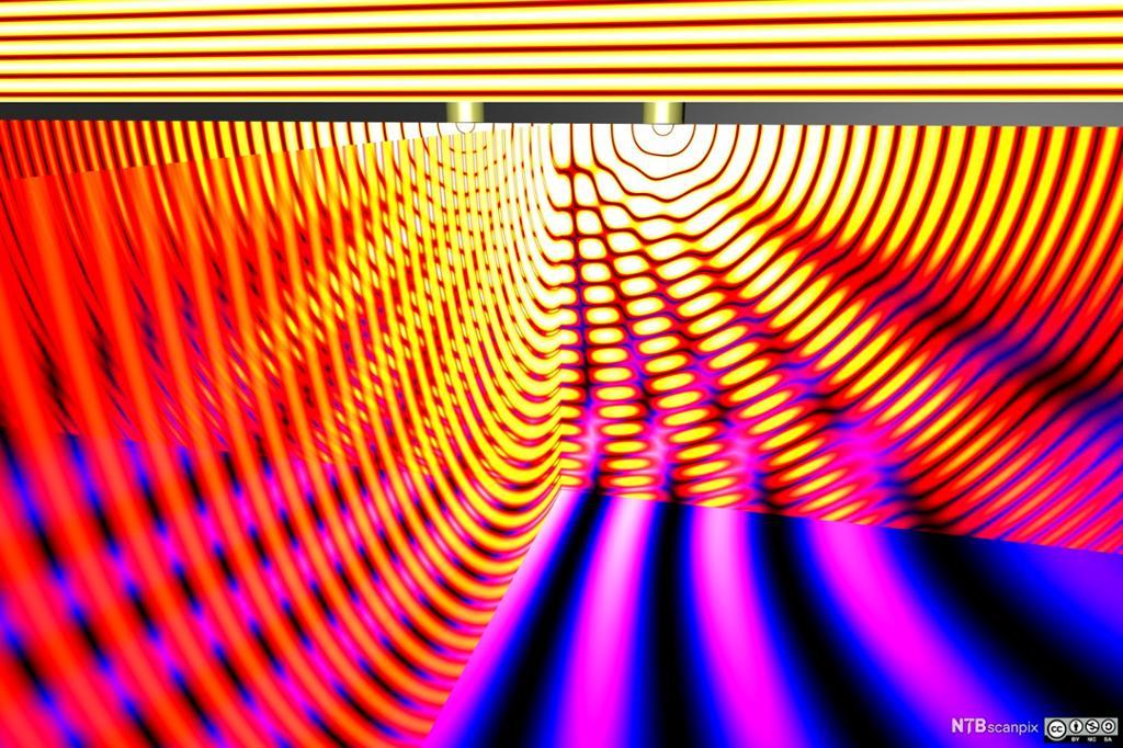 Abstrakt lysbølger i mange farger. Foto.